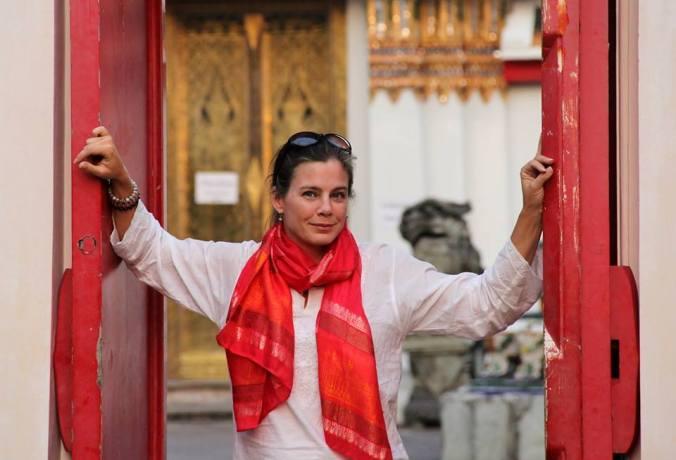 Tara MacDonald at Wat Po Temple in Bangkok, Thailand